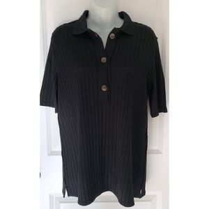Free People Black Ribbed Short Sleeve Button Polo